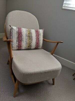 Ercol 203 Windsor Armchair, Refurbished, New Natural Linen Upholstered Cushions • 325£