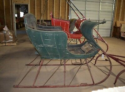 $1675 • Buy Antique Horse Drawn Green Portland Cutter Sleigh With Shafts