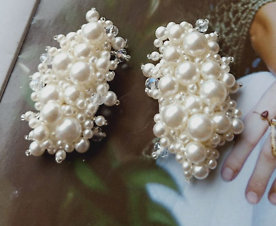 £4.99 • Buy 2 Pcs Oval Crystal Ivory Pearl Cluster Wedding Shoe Clips Jewelry Charms