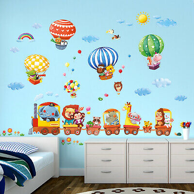 DECOWALL Animal Train & Hot Air Balloons Nursery Wall Stickers DL-1406L • 27.95£