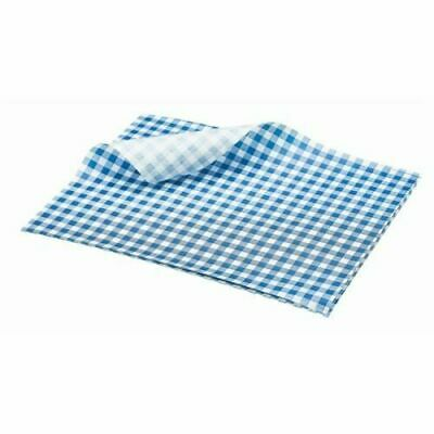 £5.99 • Buy BLUE Gingham Greaseproof Paper 25 X 20cm Sheets Burger Chips Food Wrap AntiGreas