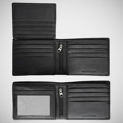 AU34.99 • Buy EGNT 12CC Trifold Wallet With Zips  RFID BLACK BIFOLD GENUINE LEATHER SLIM MENS