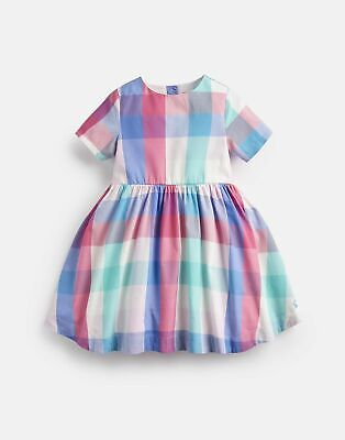Joules Girls Martha Woven Printed Dress  - PINK MULTI COLOUR CHECK • 11.95£