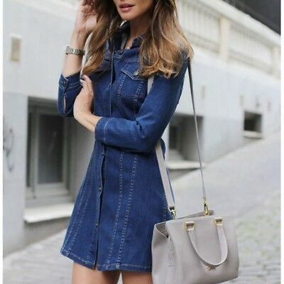 $29.99 • Buy ZARA Denim Dress Shirt Vintage Style Mini Dress Tunic Jacket Bloggers Size S 4 6