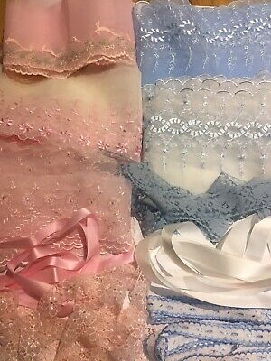 Pink  Blue Ivory  Or White  Organza Mix  Lace & Ribbon Bundles 10 Mts Beautiful  • 4.99£