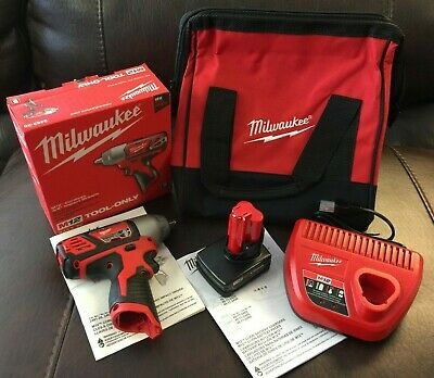 Milwaukee 2463-20 M12 12V 3/8-in Impact Wrench XC 3.0 Battery 48-11-2402 Charger • 129.99$