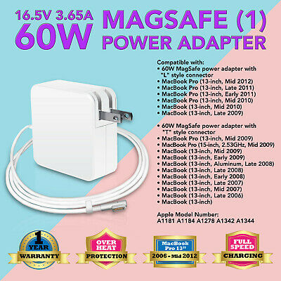 $14.93 • Buy NEW 60W AC ADAPTER POWER CHARGER FOR Apple A1344 A1330 Macbook Pro 13  L TIP