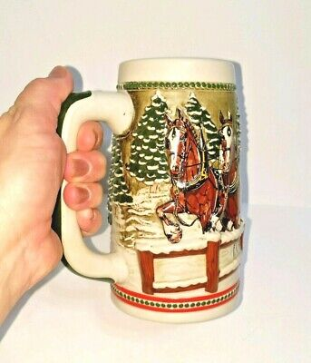 $ CDN23.04 • Buy Budweiser Beer Stein Holiday Mug Vintage 1984 Covered Bridge Clydesdale Hitch 3D
