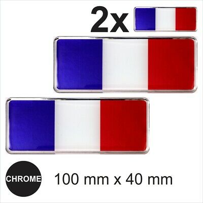 2x France French Flags 3D Chrome Sticker Car Domed Resin Side Badge Emblem Decal • 4.59£