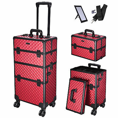 $115.90 • Buy 3in1 Rolling Makeup Train Case Professional Cosmetic Travel Vanity Organizer Box