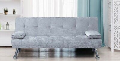 Stunning Crush Velvet Italian Designer Style Sofa Bed With Chrome Legs 4 Colours • 164.99£