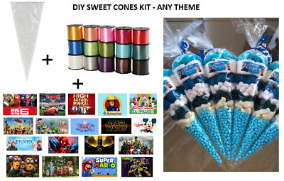 10 X PERSONALISED DIY SWEET CONES KIT PARTY BAG LOOT BAG - THANK YOU - THEME D • 3.49£