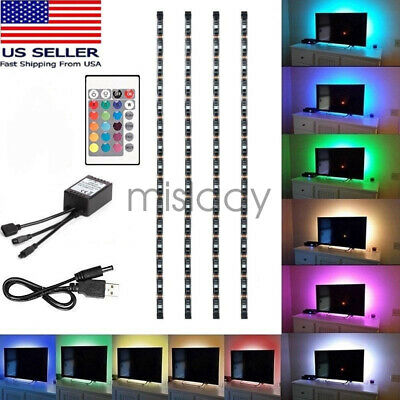 $10.99 • Buy 4Pc USB Powered RGB 5050 LED Strip Lighting For TV Computer Background Light US