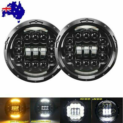 AU82.99 • Buy 2X 7 Inch Round LED Headlight Halo Angle Eyes For Jeep Wrangler Nissan Patrol GQ