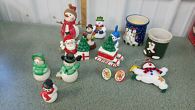 $ CDN10.09 • Buy Mixed Lot Of Vintage Christmas Ornaments And Decorations, Candles , Snowmen
