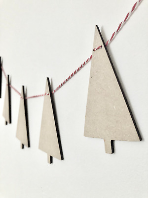 £3.90 • Buy Wooden Party Scandi Bunting Tree Christmas Craft Blanks MDF Wood Shapes