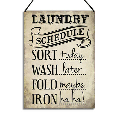 £6.99 • Buy Funny Laundry Utility Room Signs Sort Today Wash Later Fold Maybe Iron Plaque