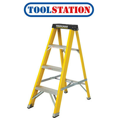 Youngman Fibreglass Swingback Step Ladder 4 Tread SWH 2.04m • 59.98£