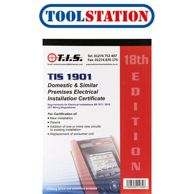 TIS Test Certificate Book Domestic Electrical Installation • 14.98£