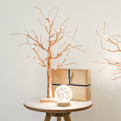 2ft Battery Indoor LED Light Up Copper Christmas Twig Tree | Table Decoration • 17.99£