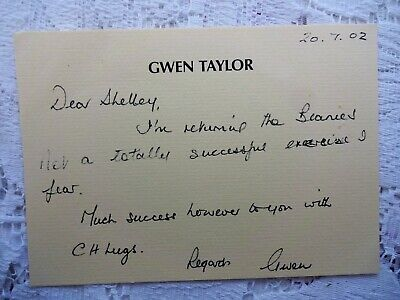 GWEN TAYLOR Hand Written & Signed Card Heartbeat Coronation St Duty Free Barbara • 5£