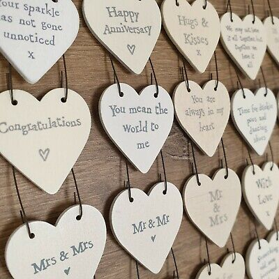 LOVE & WEDDING HEART TAGS Mini Wooden Signs 3cm Rustic Favours Keepsake Gift • 1.69£