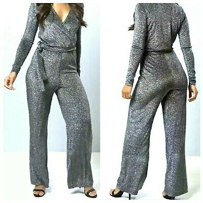 Womens Stretchy Lurex Knit Tulip Wrap Jumpsuit Xmas Party Silver/Black UK 10/16  • 14.99£