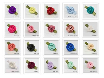 Small Satin Ribbon Roses  Bud Size 10mm 40 Colours Packet Size 5 20 50 100 • 2.96£
