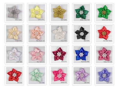 Satin Ribbon Poinsettia Flowers Bows With Beads   20 Colours • 2.21£
