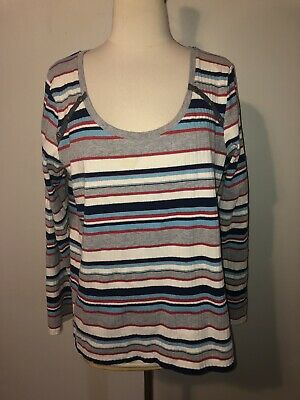 $ CDN42.22 • Buy Anthropologie Postmark XL Top Striped Long Sleeve Cotton Stretch