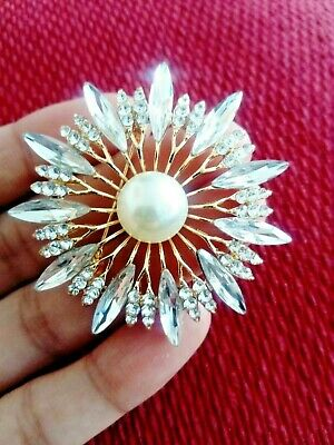 £5.25 • Buy Pearl Large Vintage Style Flower Star Crystal Brooch Pin Scarf Cake Gift