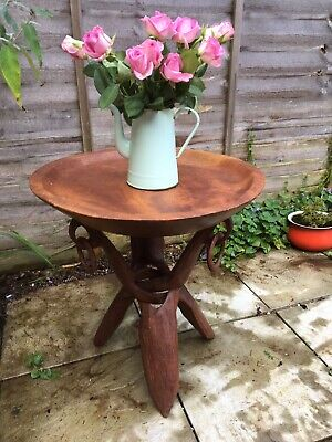 Vintage African Wooden Heavy Table Folding Carved Wood Legs Tray  Plant Stand • 80£