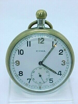 Military Nickel Cyma Swiss Pocket Watch Spares Or Repair • 49.95£