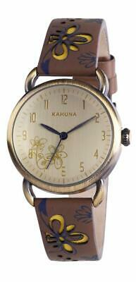 £6.99 • Buy Kahuna Women's Gold Antique Style Brown Flower Strap Watch  Kls0248l Xmas Gift