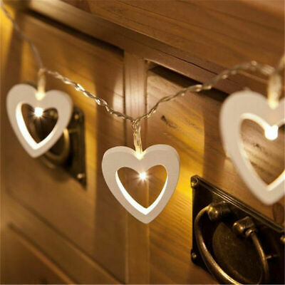 Battery Operated LED Wooden Love Shape Heart Fairy Lights String Wedding Decor • 4.51£