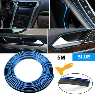 $6.94 • Buy 5M DIY Interior Blue Edge Gap Lines Point Mouldings Trim Garnish Accessory Parts