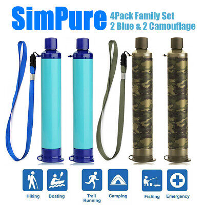 $35.99 • Buy 4pcs Portable Water Filter Straw Purifier Outdoor Rowing Emergency Survival Tool