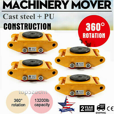 $240 • Buy Machinery Mover With 360°Rotation Cap 13200lbs 6T 4 Rollers Machine Dolly Skate