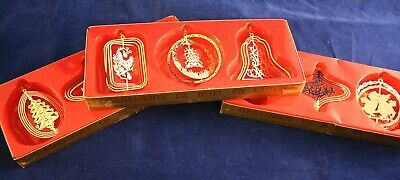$ CDN8.99 • Buy Alderbrook Brass Vintage Christmas Ornaments Lot Of 9 In Boxes Gold Finish Thin