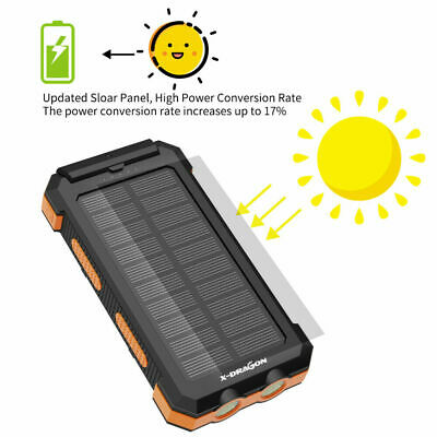 AU39.99 • Buy 500000mAh Solar Waterproof USB External Battery Power Bank Charger For Phone