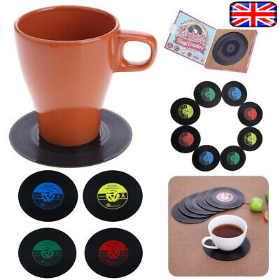 4PCS Retro CD Record Vinyl Coffee Drink Cup Mat Coasters Chic Non-Slip Tableware • 3.99£