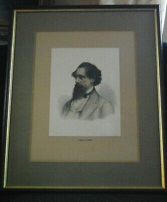 Dickens Portrait Coloured Engraving By Frank Reynolds • 35£