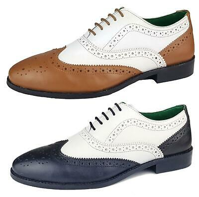 Mens Leather Lace Up Wingtip Two Tone Formal Evening Brogue Shoes 7 8 9 10 11 12 • 15.99£