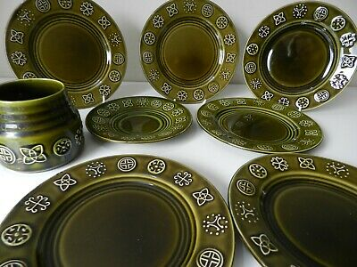 Vintage 1960/70s Lord Nelson Pottery Green Glazed Geometric Print Choose  • 12.95£