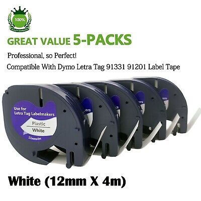 AU16.99 • Buy 5PK 91331 Compatible With Dymo LetraTag LT-100H 91201 Plastic Label Tape 1/2''