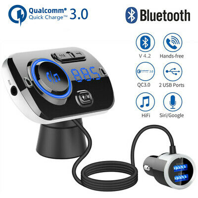 Wireless Bluetooth 4.2 Handsfree FM Transmitter MP3 Player USB Charger Car Kit • 13.59£