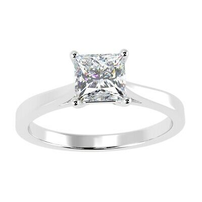 0.50Ct Classic Princess Diamond Solitaire Ring In Hallmarked Platinum • 899£