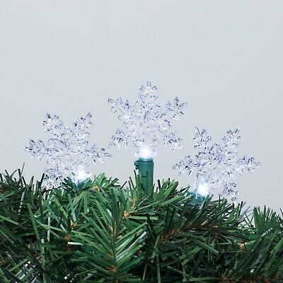 $14.99 • Buy Christmas Decor 30 Clear Indoor/Outdoor Snowflake Lights (Green Wire)