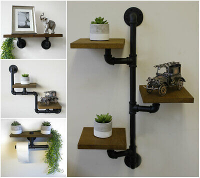 NEW Industrial Pipe & Wood Shelf Wooden Book Shelving Unit Wall Mounted Shelves • 21.49£