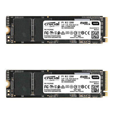 AU109.08 • Buy Crucial P1 M.2 NVMe 500GB 1TB PCIe Internal Laptop/PC Solid State Drive SSD